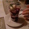 This was our Blueberry cobbler in a serving glass,,, wonderful at Rossmount Inn Restaurant.
