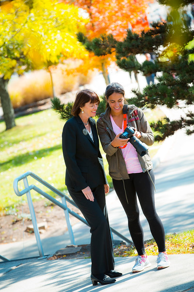 President Waldron and Students Fall 2015