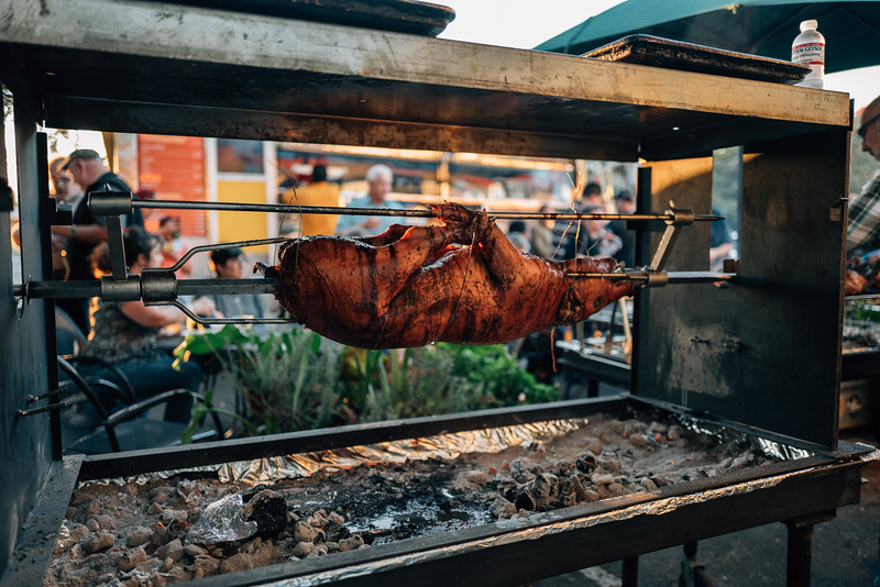 Pig on the spit.  Parkside Cafe 10th anniversary party, Santa Rosa, Ca.