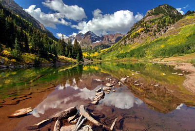 One of many shots of Maroon Bells I took the last day there.  Notice all the rocks and logs in the foreground.  In most cases you want some foreground but I thought it took away from the majesty of the scene.  I found another spot without all the debris.