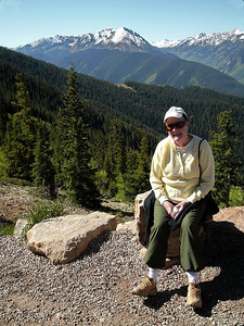 My wife, MA, on top of Mt. Aspen