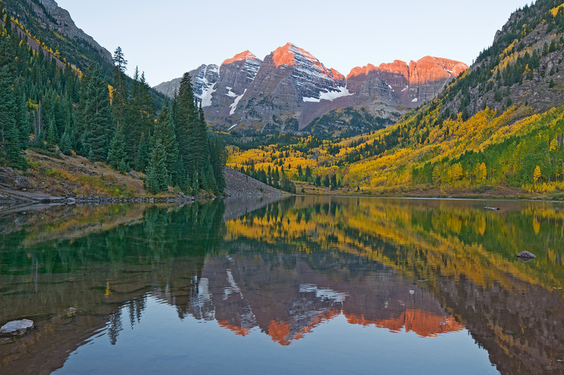 Maroon Bells at dawn, near Aspen, Colorado