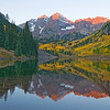 Maroon Bells at dawn, near Aspen, Colorado