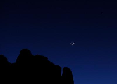 Crescent moon and Jupiter