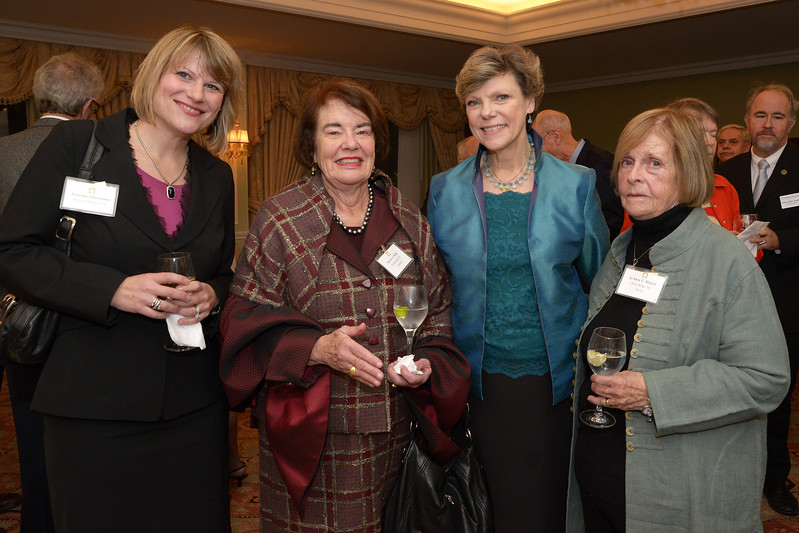 NEHGS Councilor Bonnie Reilly, Trustee Jo Anne Makely, Cokie Roberts and guest