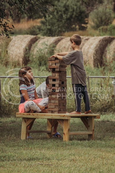 The farm offers many fun activities for kids like yard Jenga in addition to there larger attractions like the hayrack rides and giant slide.