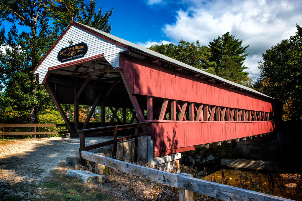 Covered bridge over the Saco River<br /> Conway, New Hampshire