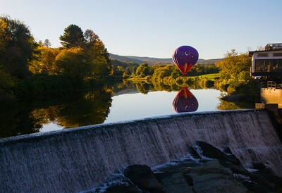 Hot Air Balloon taking off at Simon Pearce Factory in Woodstock, VT