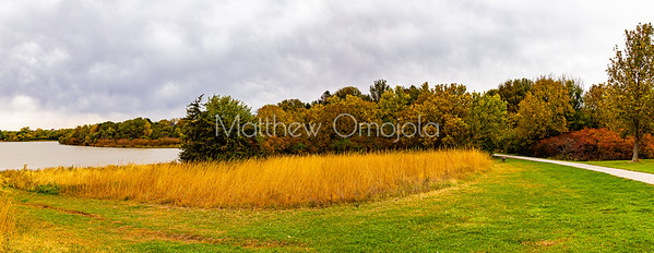 Panoramic view Fall autumn amazing colors in a park along lakeshore