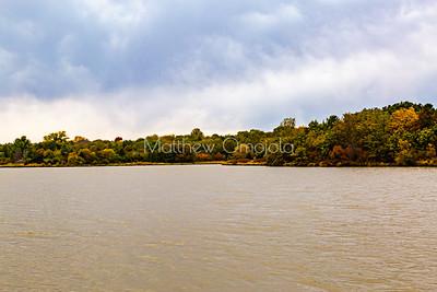 Amazing fall autumn foliage colors on a shoreline