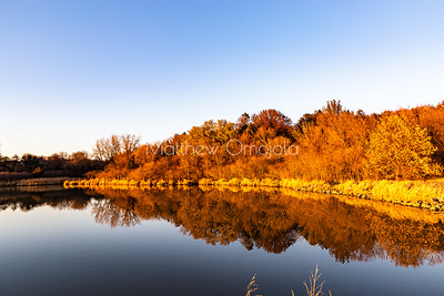 Fall reflections. Fall color reflection in water. Brown foliage marking end of autumn, Beautiful reflection in lake . Sunset glow on the brown foliage and lake.