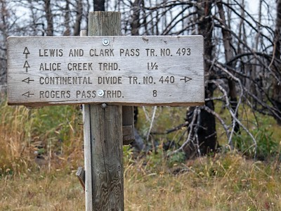 Continental Divide Trail signage where it connects with Lewis and Clark Pass Trail IMG_0399-3