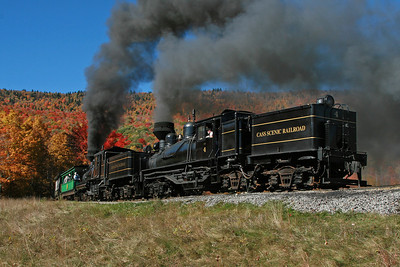 Shay #4 along with Shay #11 depart Whittaker Station for Bald Knob.
