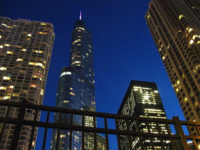 Buildings bask in the blue hours from this view on State Street in downtown Chicago, October 2015.