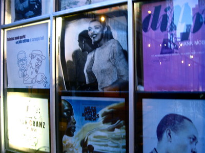 Window display at Jazz Record Mart in downtown Chicago, October 2015.