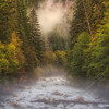 Clackamas River Drapped in Mist and Fall Colors. Oregon.