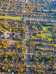 Fall colors in a suburban housing complex Canada.