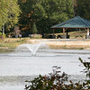 The fountain was on in the middle of Barrett Pond at Barrett Park in Leominster on Tuesdsay morning. SENTINEL & ENTERPRISE/JOHN LOVE