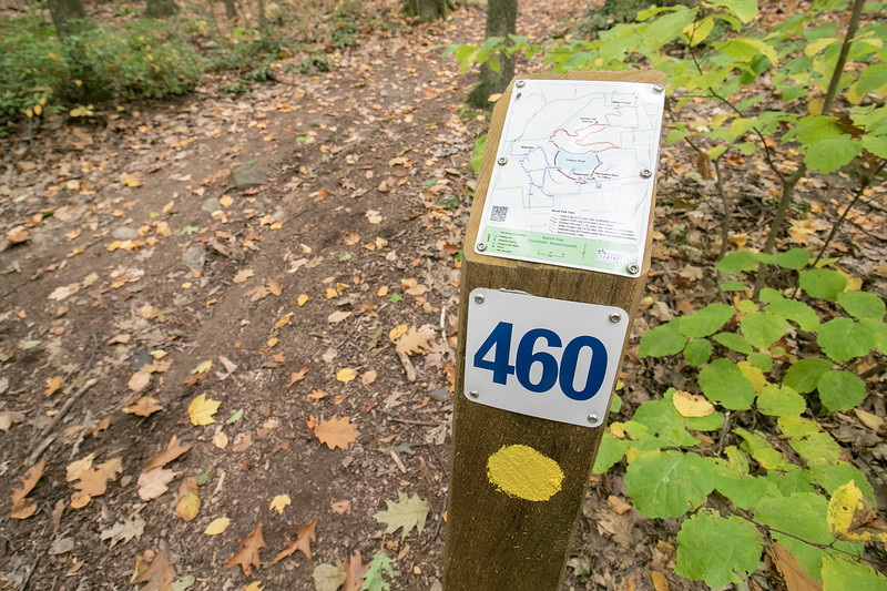 These small maps on trail markers help you get around at Barrett Park in Leominster. SENTINEL & ENTERPRISE/JOHN LOVE