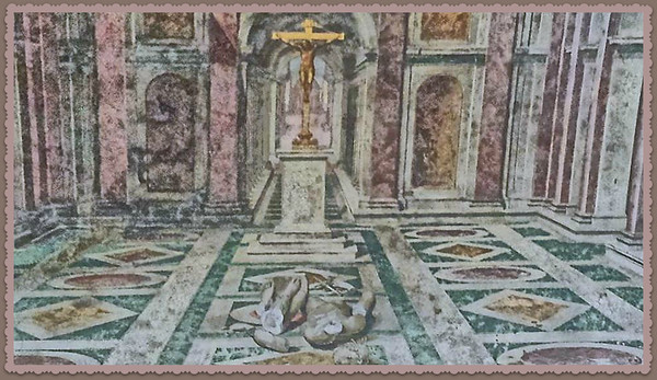 Ceiling painting shows broken statue of Apollo at foot of crucifix (triumph of Christianity in Roman Empire)