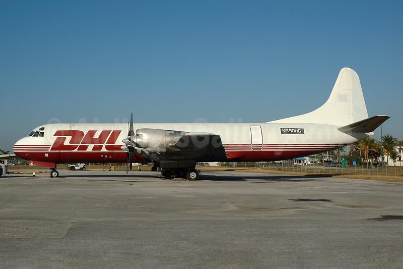 DHL (Trans-Air-Link) Lockheed 188C (F) Electra N590HG (msn 1098) OPF (Bruce Drum). Image: 100097.