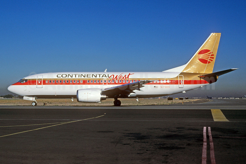 Continental West Airlines (Continental Airlines) Boeing 737-3T0 N17309 (msn 23360) SLC (Thomas Livesey). Image: 912247.