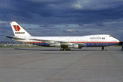 Caribbean Airways - The National Airline of Barbados - Lionair Boeing 747-121 LX-GCV (msn 19960) (Lionair colors) MAN (Christian Volpati Collection). Image: 940123.