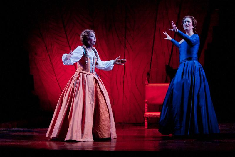 Soprano Maureen McKay is Nannetta and soprano Ellie Dehn is Alice Ford in San Diego Opera's FALSTAFF. February, 2017. Photo by J. Katarzyna Woronowicz Johnson.