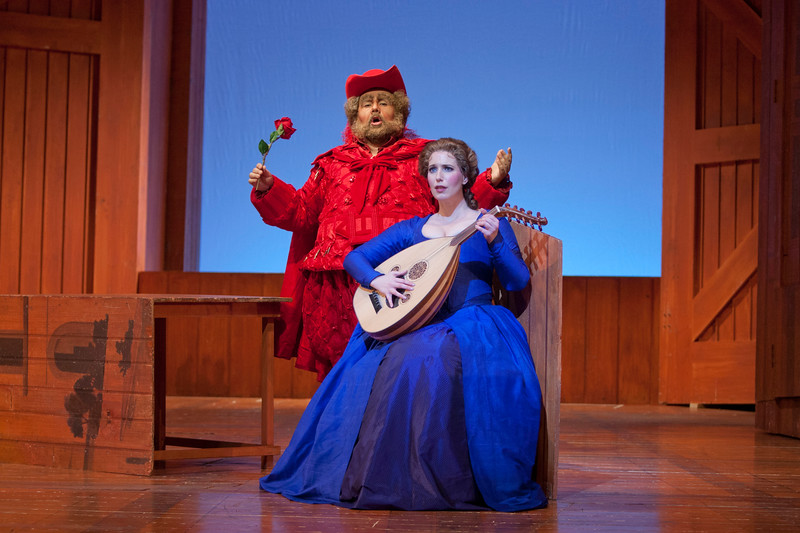 Baritone Roberto de Candia is Falstaff and soprano Ellie Dehn is Alice Ford in San Diego Opera's FALSTAFF. February, 2017. Photo by J. Katarzyna Woronowicz Johnson.