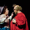 Mezzo-soprano Marianne Cornetti is Mistress Quickly and baritone Roberto de Candia is Falstaff in San Diego Opera's FALSTAFF. February, 2017. Photo by J. Katarzyna Woronowicz Johnson.