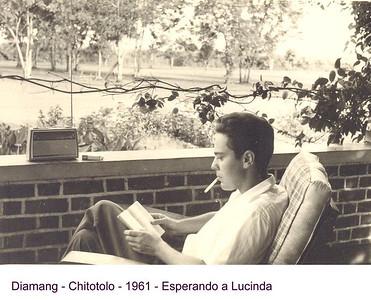 """1961- Dias Mendes, no primeiro contracto ainda """"solteiro"""" 'a espera da esposa -Lucinda."""
