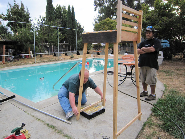 Building a lifeguard throne for Lake Gourdscout (Pumpkin Carving Party Prep)