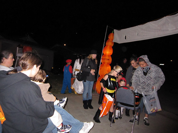Trick-or-treaters in the court (Halloween in Gourdopia)