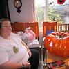 Kati carving up a fake pumpkin!