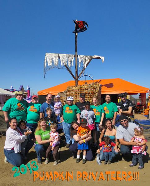 Top (from left): Thomas, Kati, Nate, Nicole, Mike, Nick, Anna, Michael, the Pumpkin Pirate Captain. 2nd Row Down: Alex, Alyssa; Third Row: Erin, Mataiz, Amy, Ingrid, Suzie, Eric, Front Row: Ryan, Nicholas Jr., Eric Jr., Lizzy  (2013 KPP Pumpkin Acquisition)