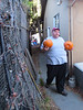 To protect the pumpkins from our abundant fat, happy squirrels, we had to cart them around to the sauna in our backyard (Tiniest Pumpkin Conga Line)