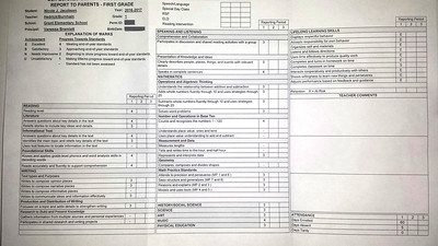 Nicole's reportcard (her first, I think)