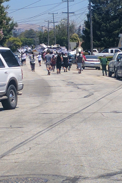 Arroyo High School Band marching down our street