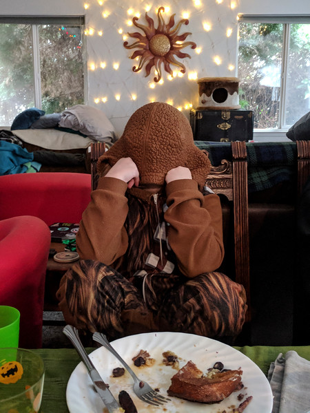 Our little wookie is done with brunch (Christmas Day)