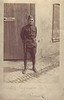 """Frank als Soldat in dem Ersten Weltkrieg. 23. April 1919<br /> <br /> Thuer, Frank:  """"Soldiers Mail. Dear Sis Pretty good picture you can see how I looked the 23  of April 1919. Love to all Frank""""  Addressed to Mrs HJ Dumas, 5309 Odell St. St Louis, Mo"""