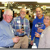 Now here's trouble.  Bud Cosby and his wife Inga surround Rick Swain and Jim Desmond.  Jim met is wife, Joyce while working in the old CNB Trust Investment group.  They now live in Florida and came up especially for this party, winning the trophy for furthest traveled.  No wait, there wasn't a trophy.  Well, if there had been one, they would have won.