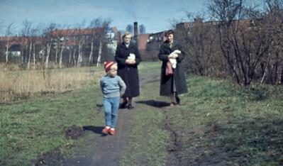 På vej ud i Mosen. Morten, Loen og Grethe.