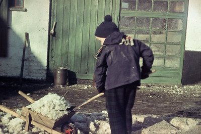 Morten rydder sne.