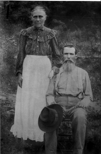 Seaborn and Lucretia Renfro Bailey. He was born c. 1845, died circa 1926; she was born circa 1850, died circa 924.  He was the son of Cullen Dean and Elizabeth Ruth Herrin Bailey, and she was the daughter of James J. and Emily Dean Renfro(e).  They are buried at Harmony Church Cemetery, Brooks County, Georgia. (Photo courtesy of Mary Alice Bailey King and J. D. Bailey)