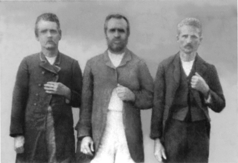 """The Cook brothers, sons of Elijah Cook, left to right: Francis M. """"Frank"""", Jasper John W.  and Jackson James Cook<br /> Photo Courtesy Ola C. Guthrie"""