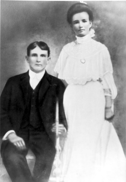 W. Columbus Ganas shown with his bride, Georgie Clanton Ganas. He later served as a commissioner in the newly formed county of Lanier.