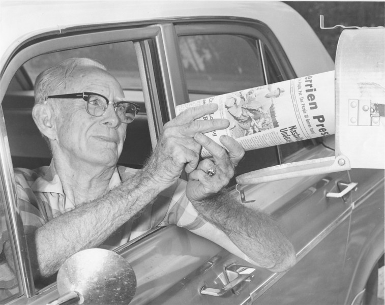 Jimmy Grissett delivering mail June 1970