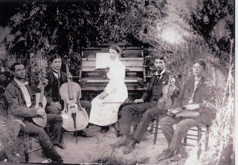 Music was an important part of  life for the family of John Hubert Hammond. This photo taken circa 1899-1900 shows family members from left to right: Roscoe Albert Hammond, Elmo Dalton Hammond, Elon Gertrude Hammond, Adolphus Brown Hammond, and Cecil David Hammond  (Submitted by Jo Ann Hammond Crews of Covington, Ga.)