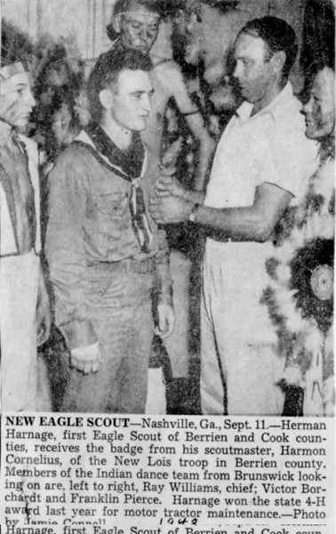 Herman Harnage, first Eagle Scout of Berrien and Cook County
