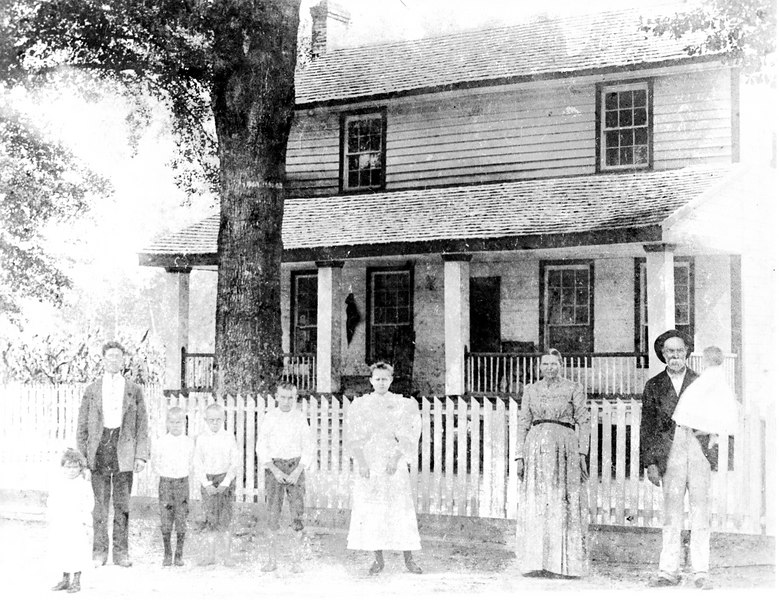 Henry Harrison Knight Family circa 1896, located at Ray's Mill.  L-R, Rosa, unknown, Elias M Knight, John T., Alexander, Leila, Mary Susan Ray Knight (mother), and Henry Harrison Knight (father), holding Levi Jackson.